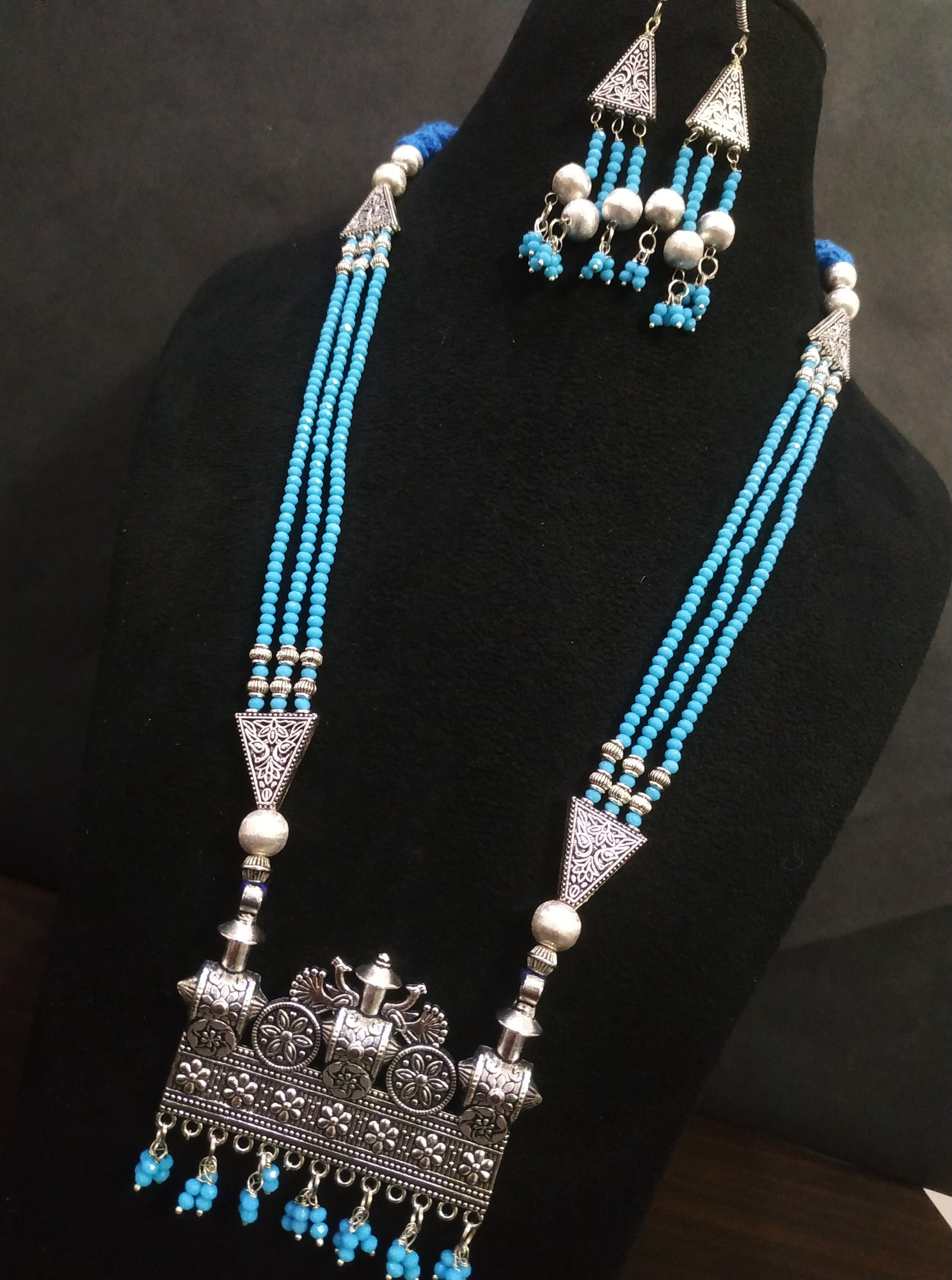 Exclusive Partywear Oxidised Zircon Cut Beads Necklace Set