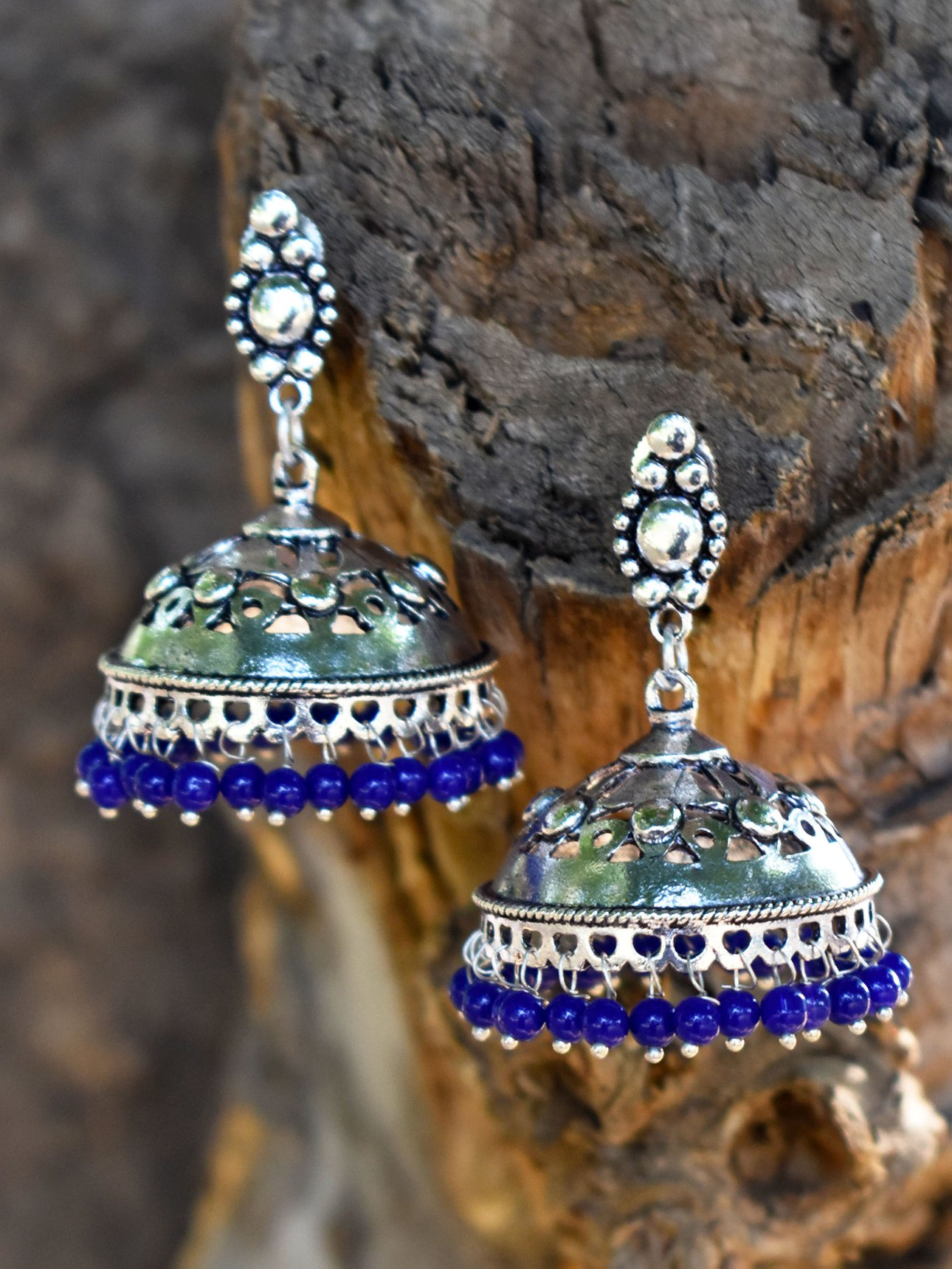 Antique Beaded Oxidised Jhumka
