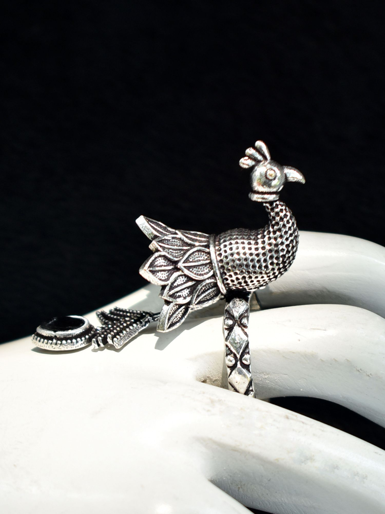 Designer Peacock Stone Ring