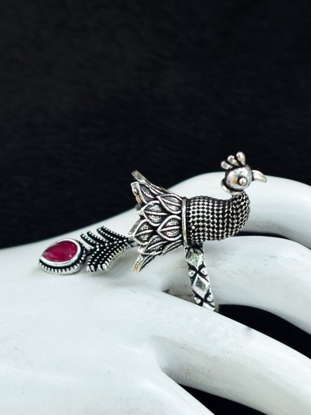 Royal Oxidised Peacock Stone Ring