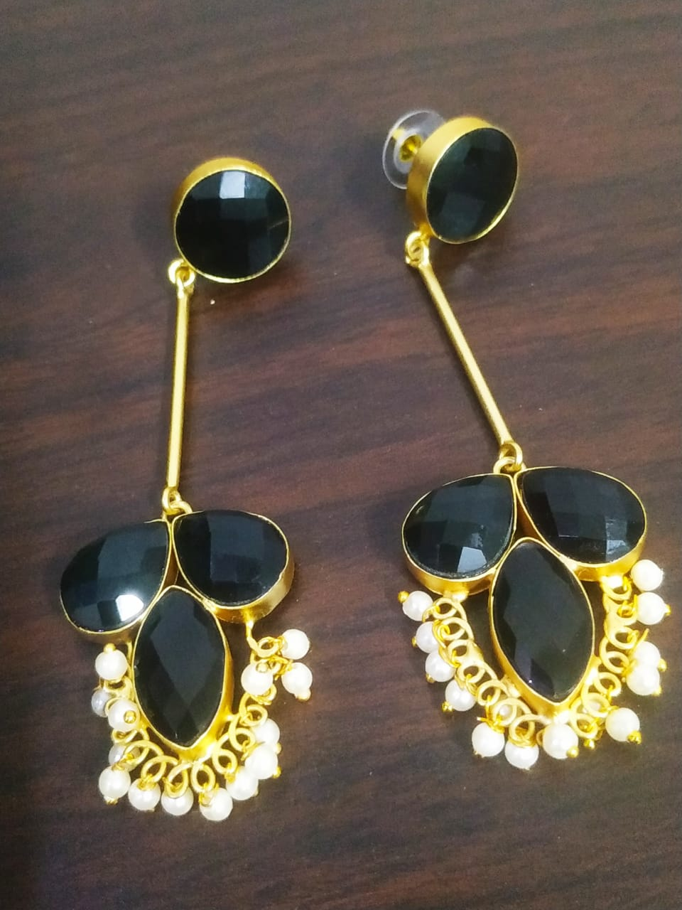 Partywear Golden Jaipuri Earrings
