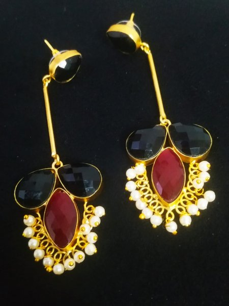 Extremely Pretty Jaipuri  Gold Earrings