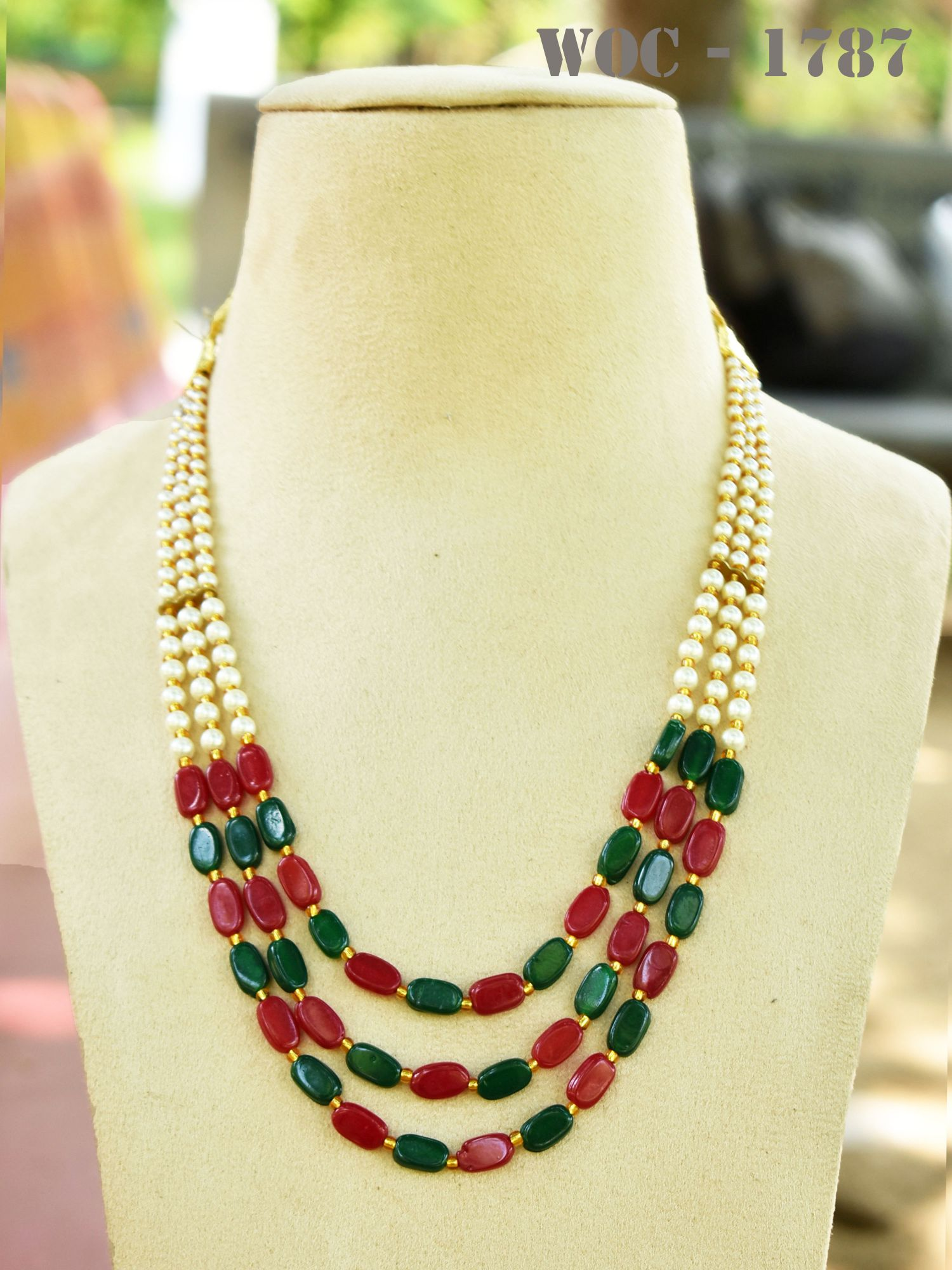 Attractive Three Layer Beads And Pearl Mala