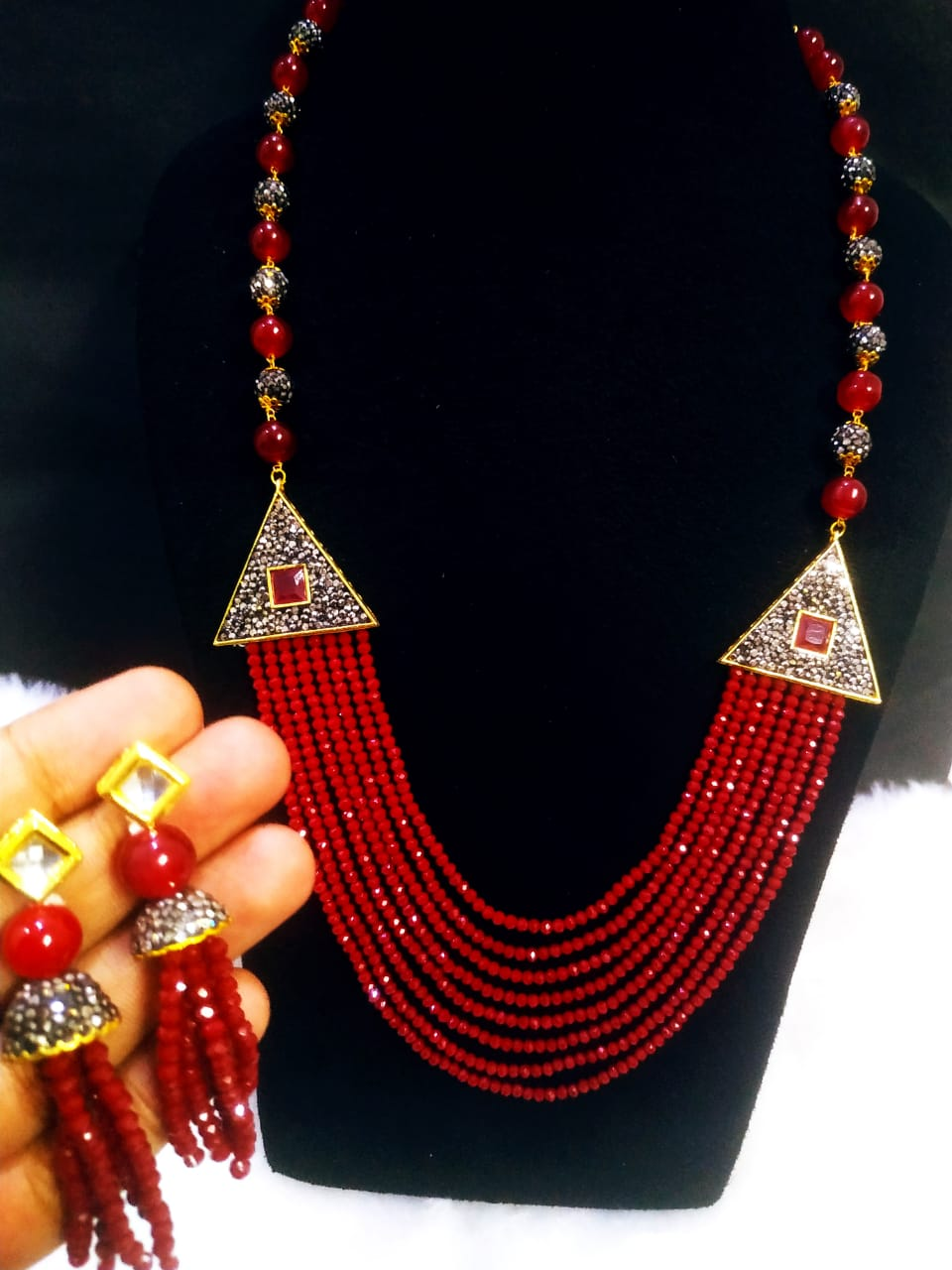 Attractive Partywear Onyx Cut Stone Long Cz Mala Set