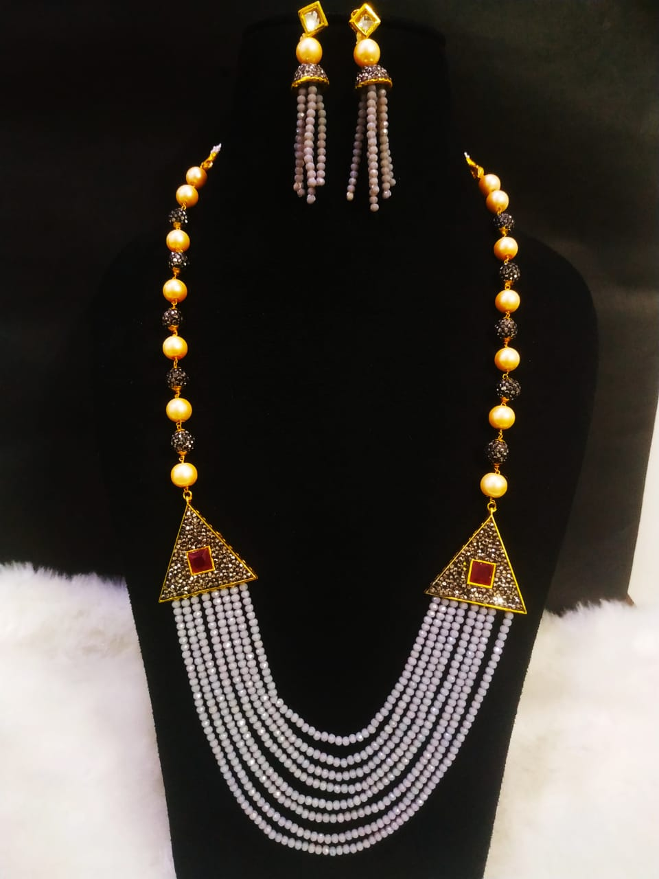 Trendy Partywear Onyx Cut Stone Long Cz Mala Set