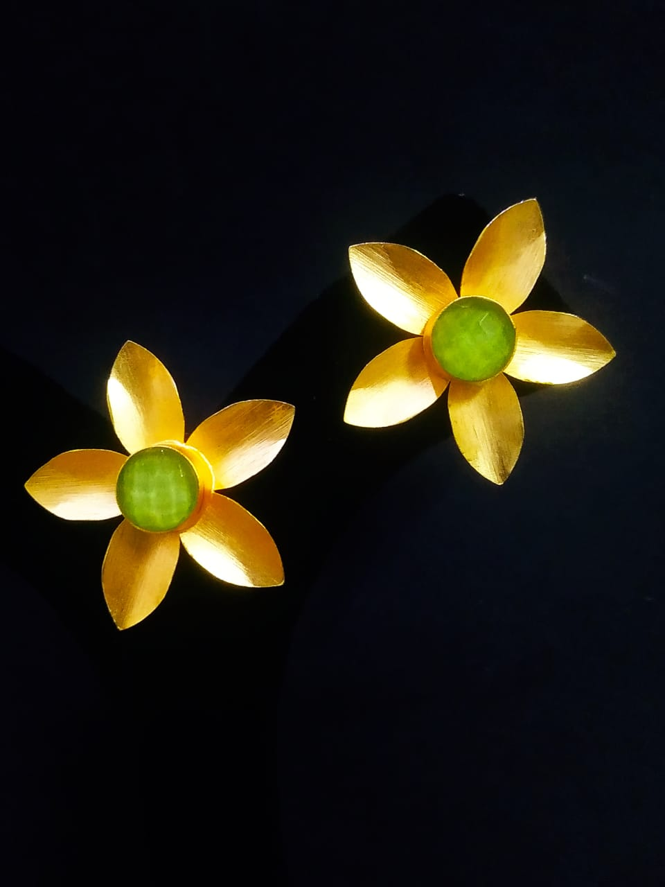 Designer Matt Golden Flower Stone Stud Earrings
