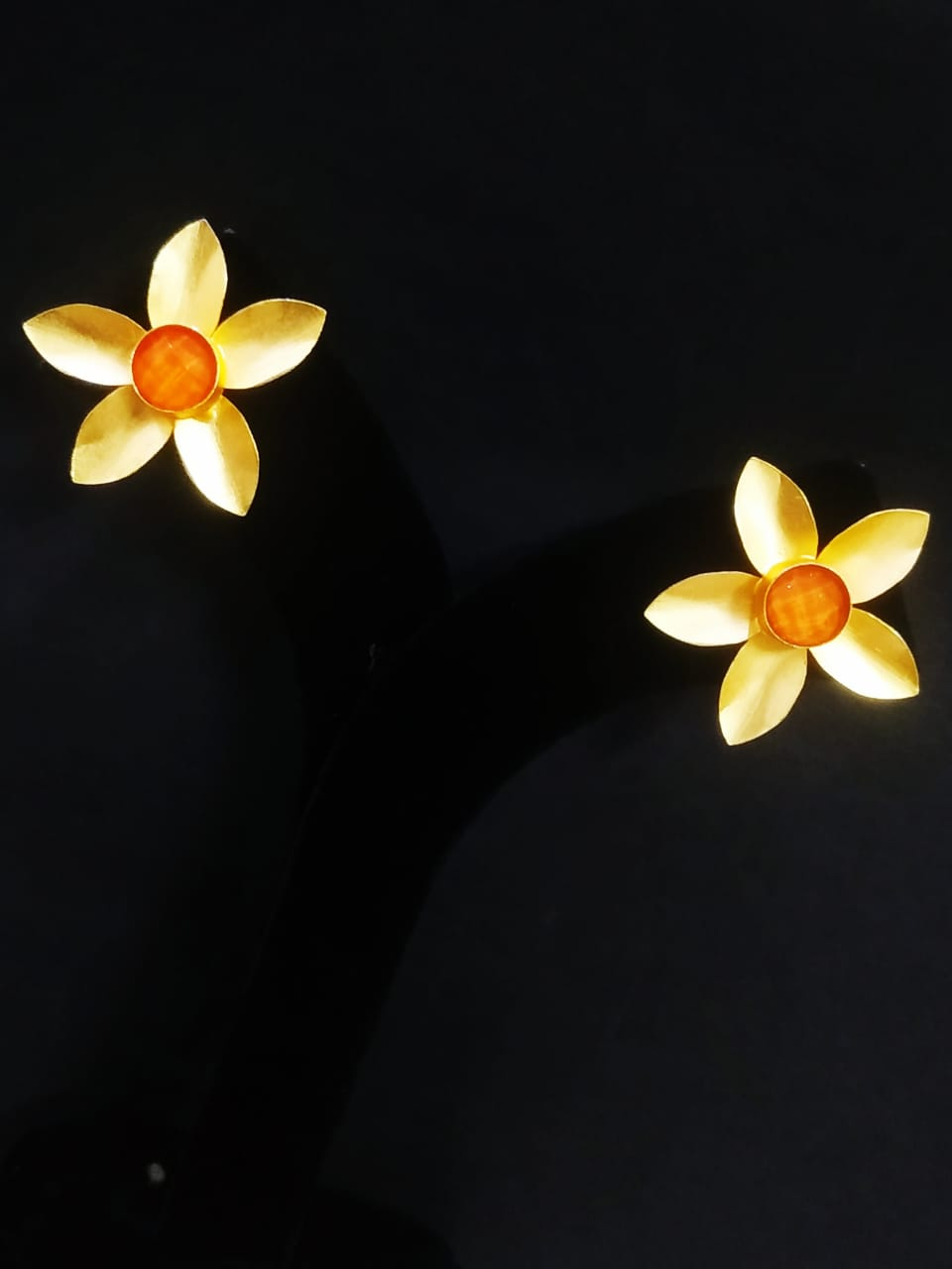 Traditional Matt Golden Flower Stone Stud Earrings