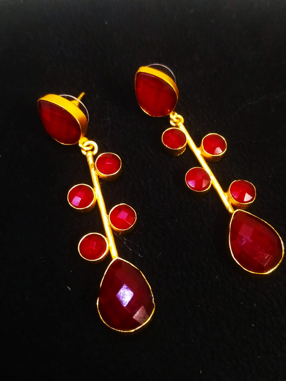 Partywear Matt Golden Jaipuri Handmade Stone Earrings