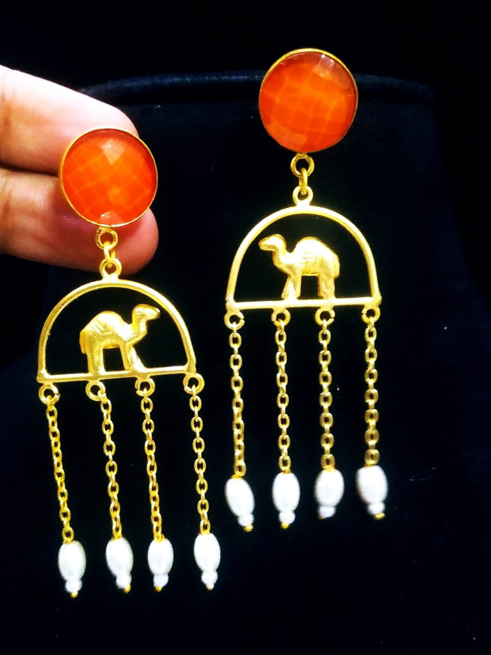 Enchanting Matt Golden Camel Latkan Stone Earrings