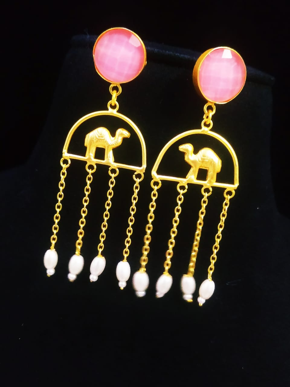 Dazzling Matt Golden Camel Latkan Stone Earrings