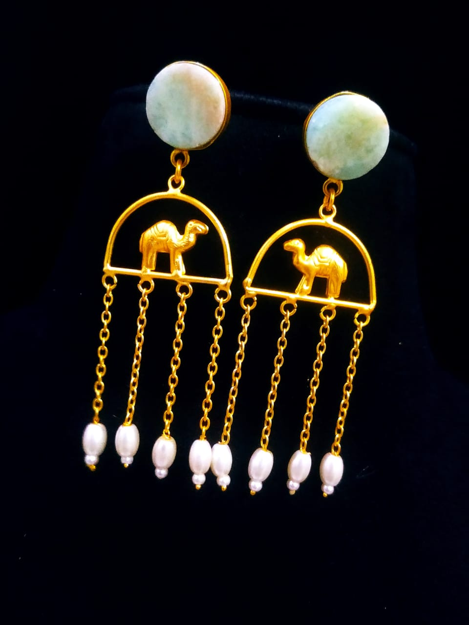 Delightful Matt Golden Camel Latkan Stone Earrings