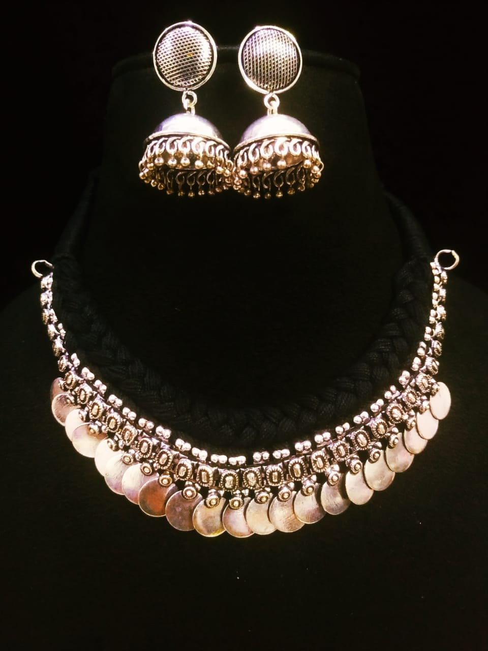 Traditional Oxidised Coin Thread Necklace Set