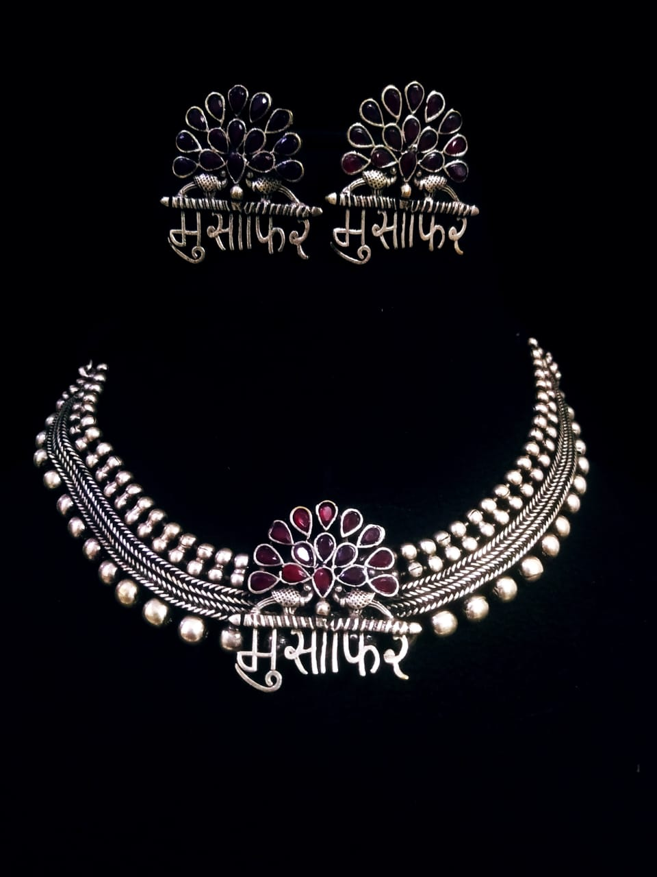Antiques Musafir Silver Lookalike Stone Choker Necklace Set