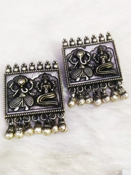 Silver Lookalike Antique Brass Temple Big Studds
