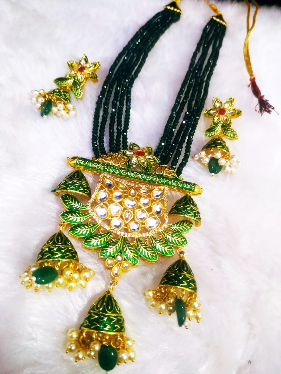 Kundan Meena Brass Jaipuri Ad Setting Long Cut Jadau Mala Set