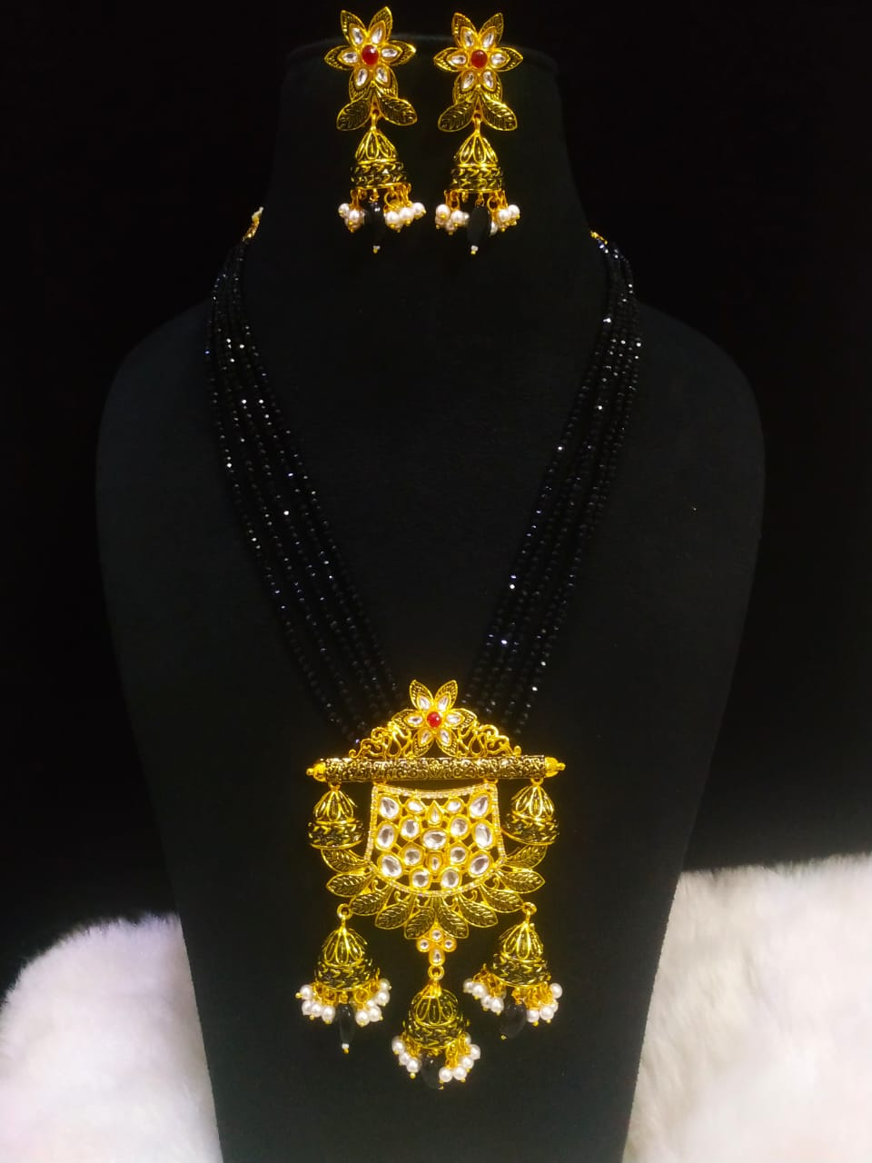 Crafted Kundan Meena Brass Jaipuri Ad Setting Long Cut Jadau Mala Set