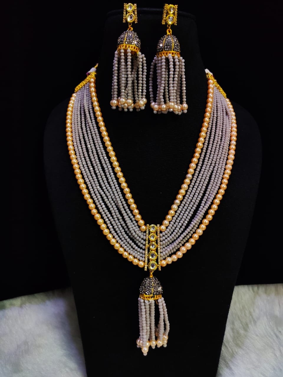 Pretty Jaipuri Cut Onyx Ad Necklace Mala Set