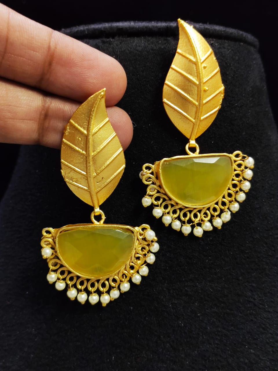 Pretty Matt Golden Stone Jaipuri Leaf Dangler Earrings