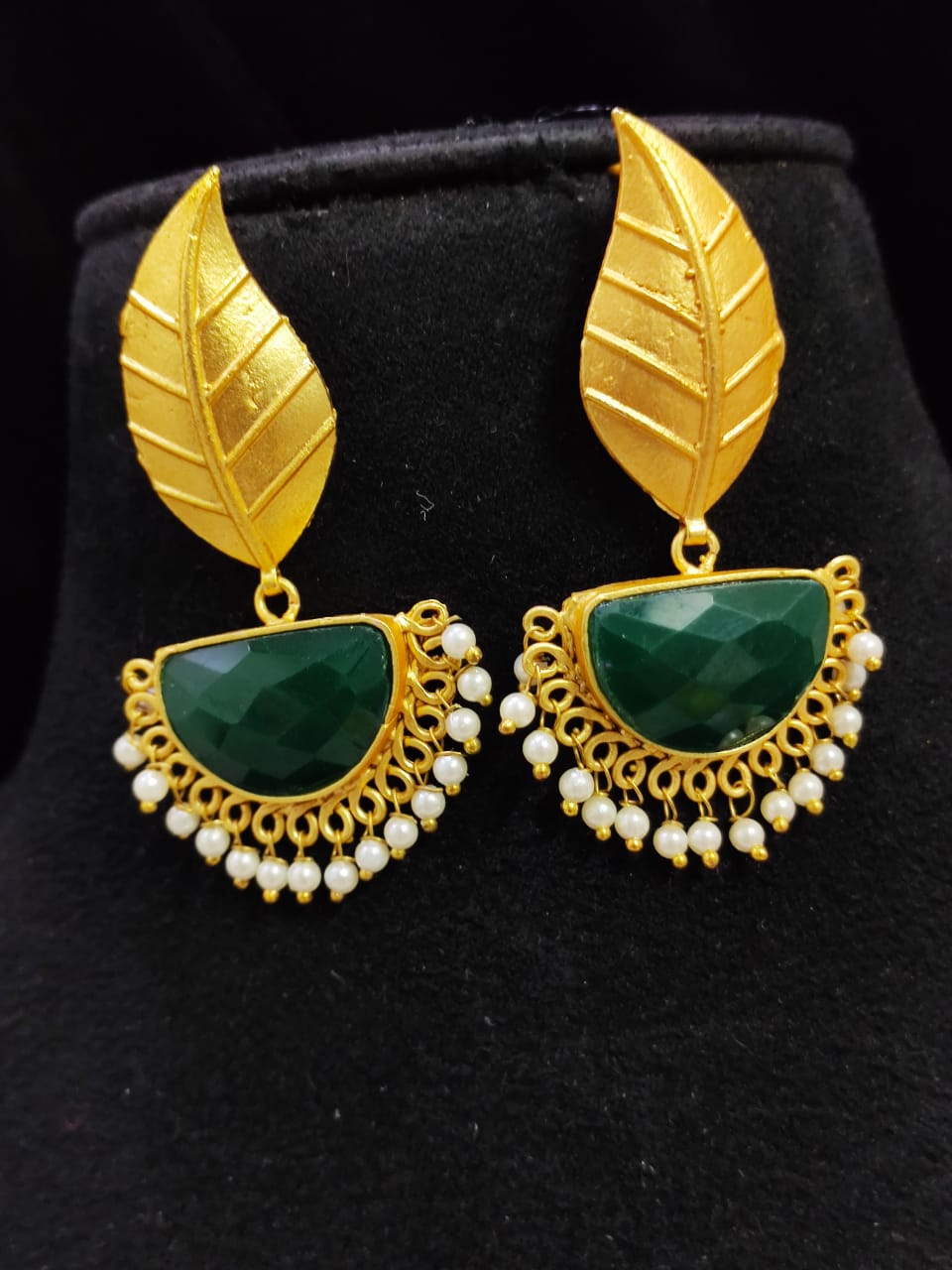 Fabulous Matt Golden Stone Jaipuri Leaf Dangler Earrings