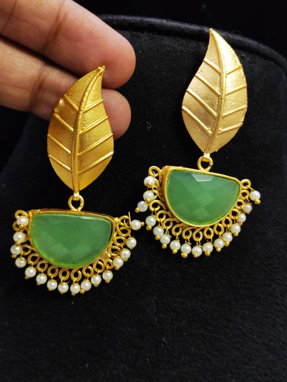 Lovable Matt Golden Stone Jaipuri Leaf Dangler Earrings