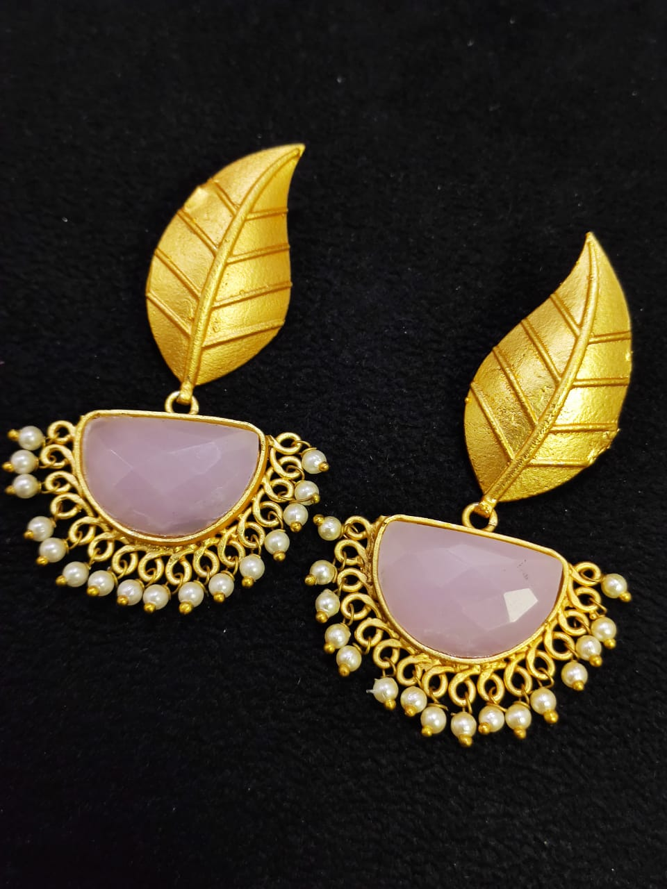 Trend Matt Golden Stone Jaipuri Leaf Dangler Earrings