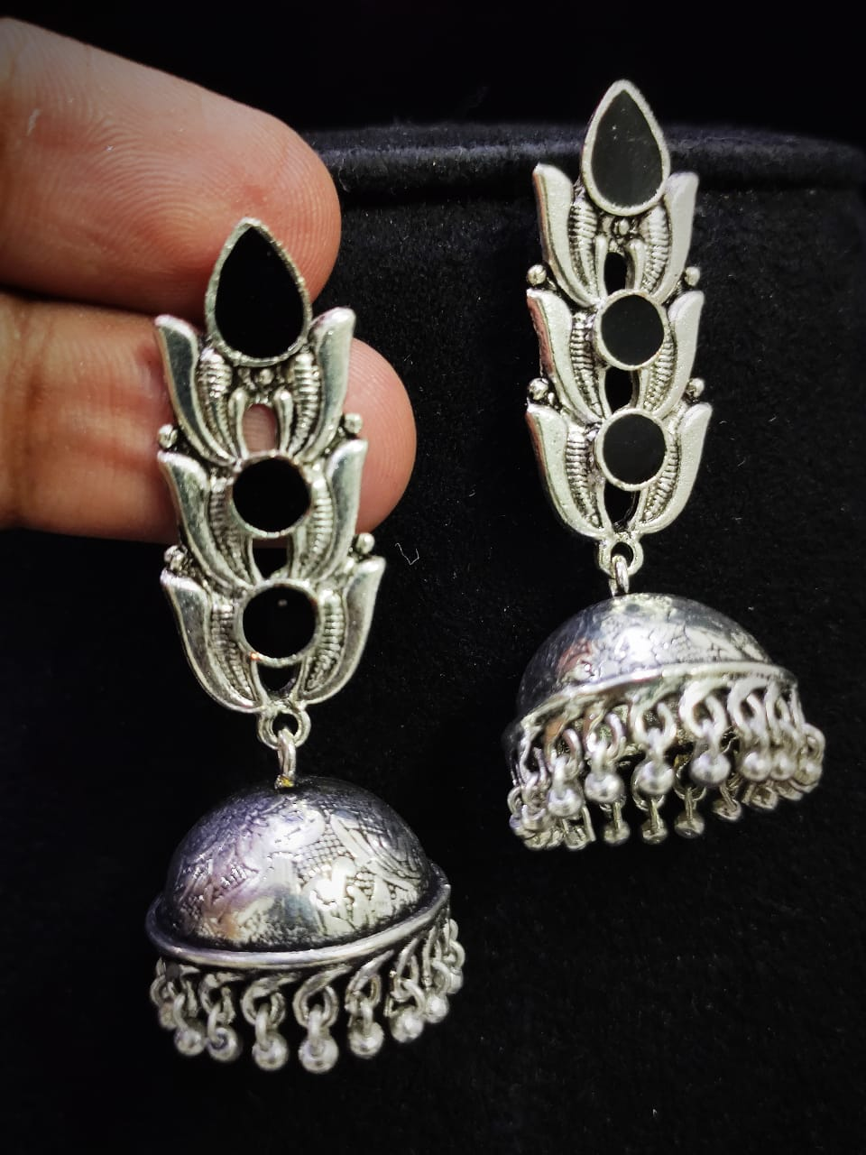 Beautiful Oxidised Handmade Meena Long Tops Jhumka