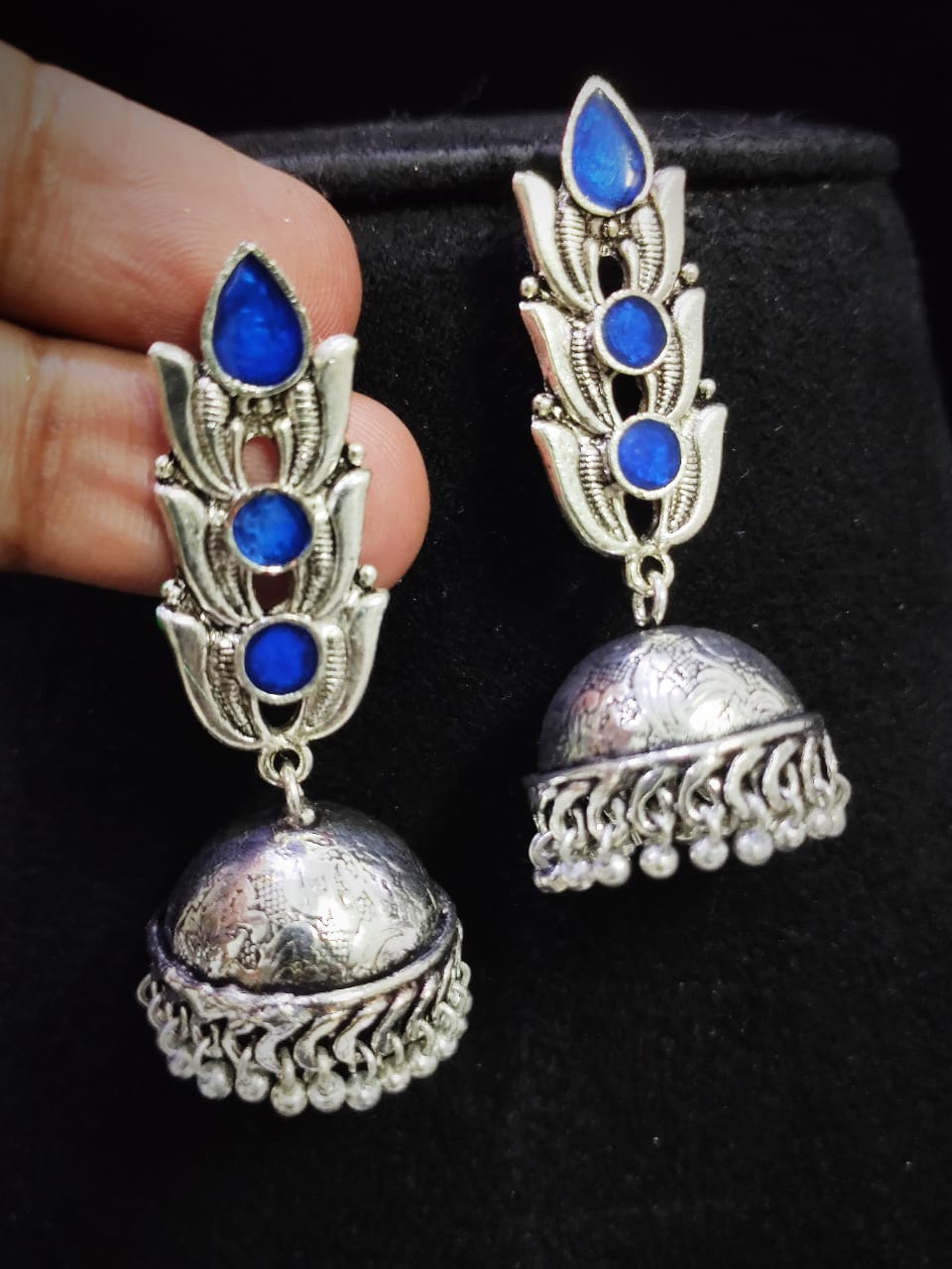Extremely Oxidised Handmade Meena Long Tops Jhumka