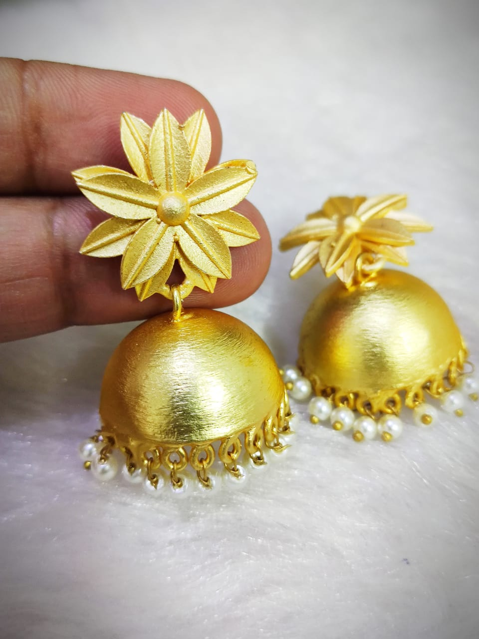 Stylish Matt Golden Jaipuri Brass Jhumka