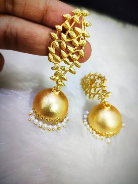 Designer Tree Golden Jaipuri Jhumka