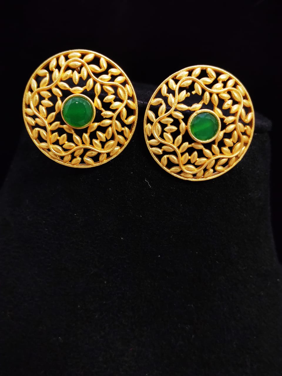 Stylish Matt Golden Stone Studd Earrings