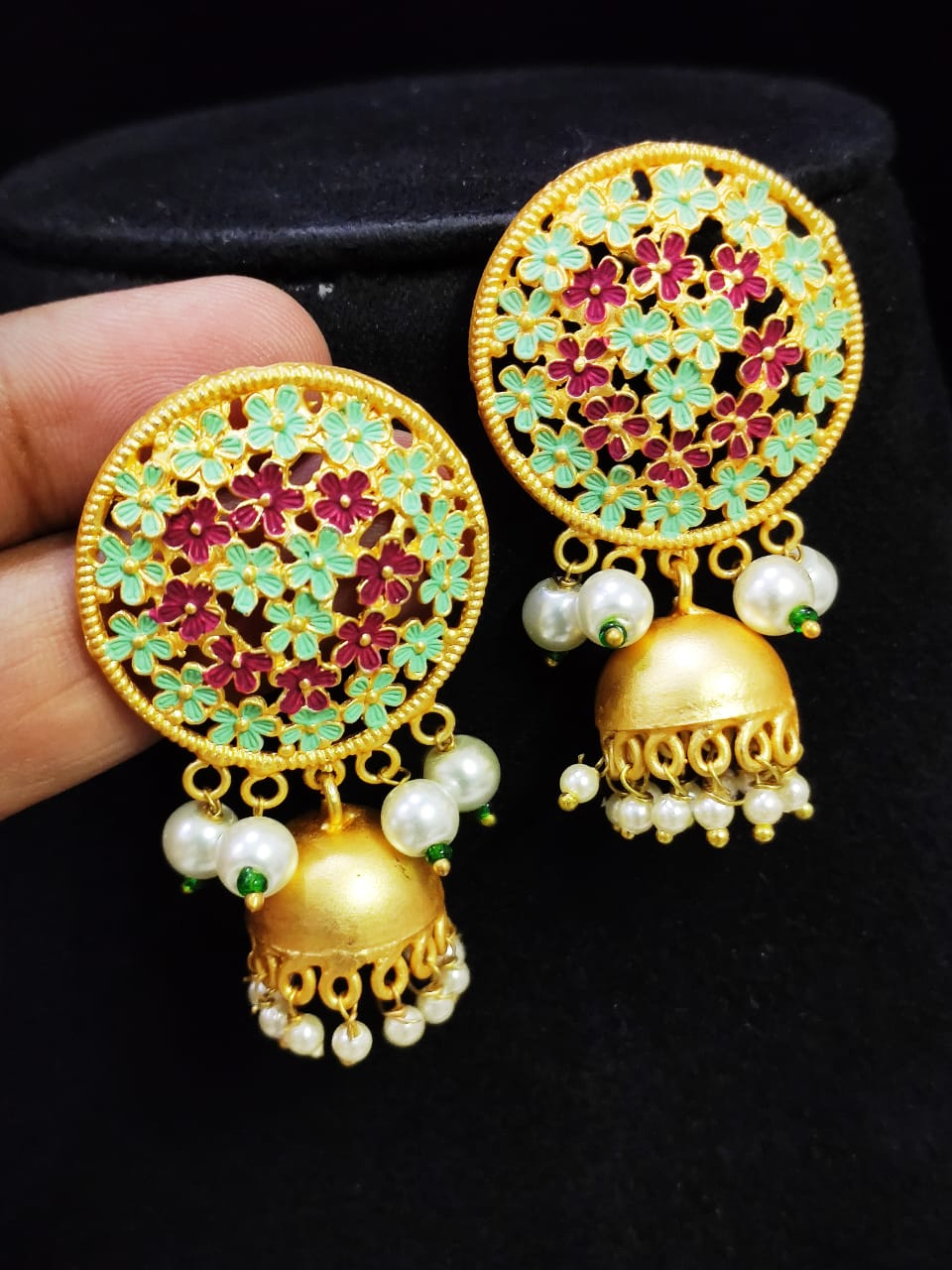 Crafted  Matt Golden Jaipuri Mint Meena Big Studd Jhumki