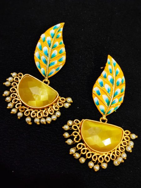 Extremely  Matt Golden Hand Painted Stone Leaf Earrings