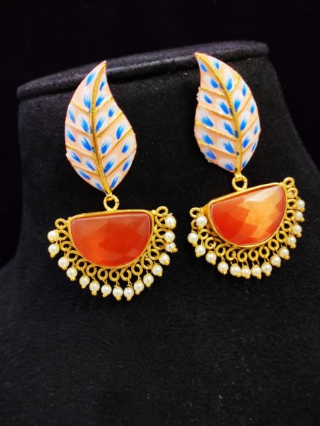 Traditional Matt Golden Hand Painted Stone Leaf Earrings