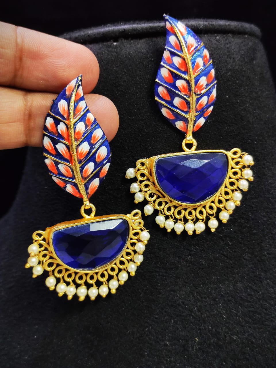 Exclusive Matt Golden Hand Painted Stone Leaf Earrings