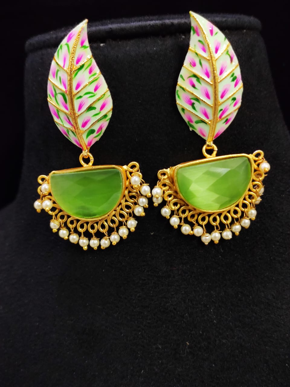 Attractive Matt Golden Hand Painted Stone Leaf Earrings