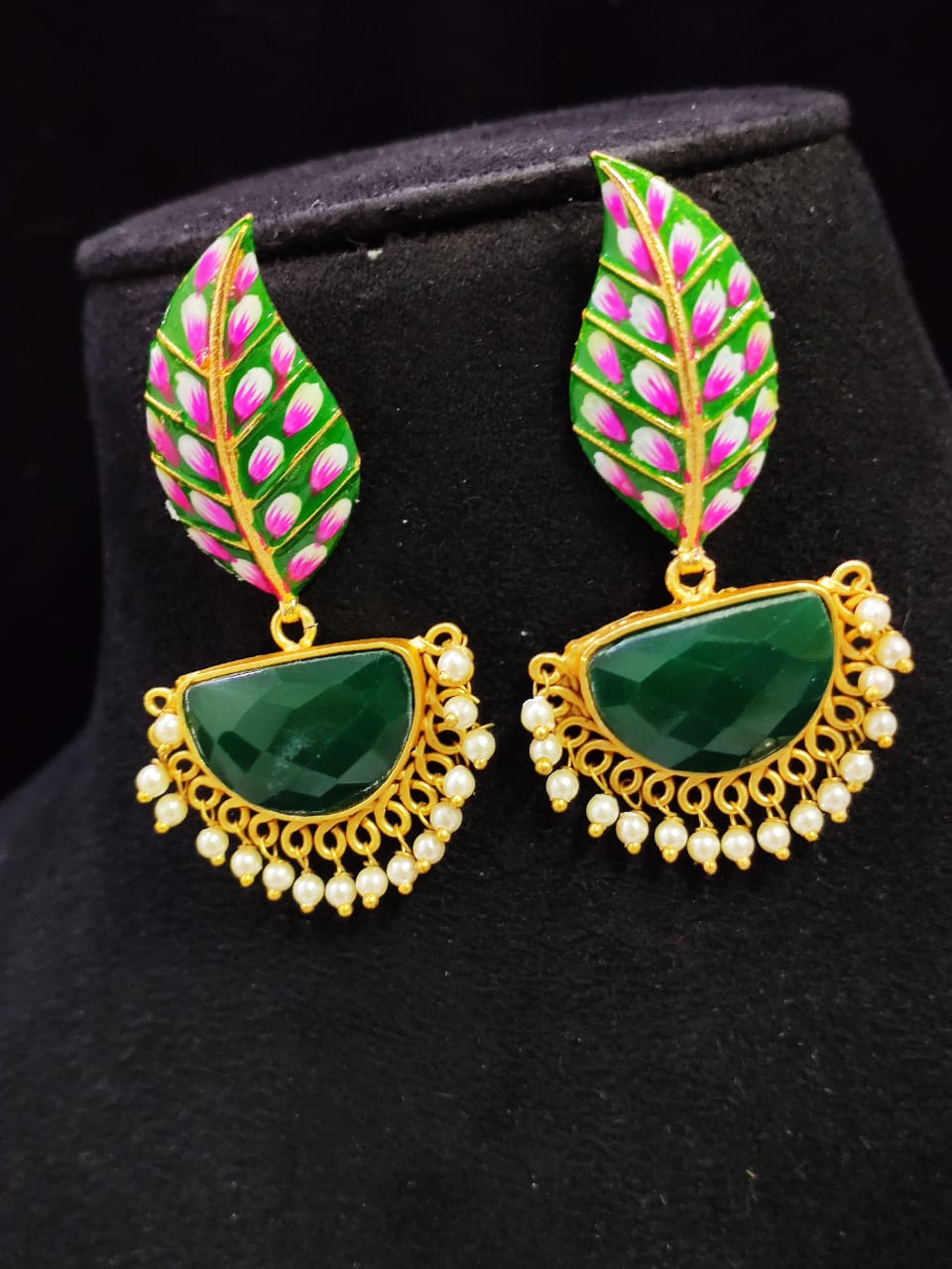Adorable Matt Golden Hand Painted Stone Leaf Earrings