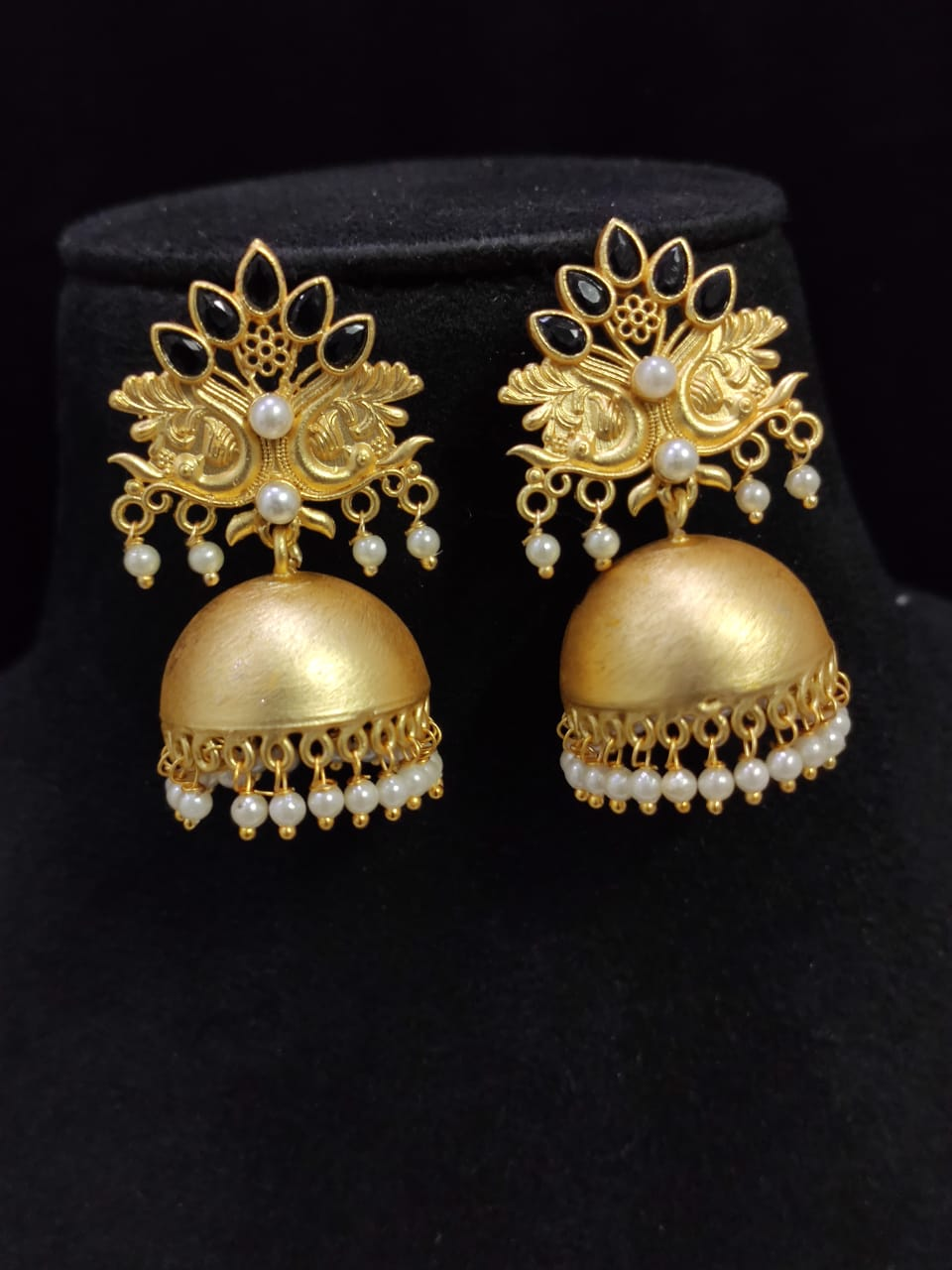 Stylish Matt Golden Jaipuri Stone Peacock Jhumki