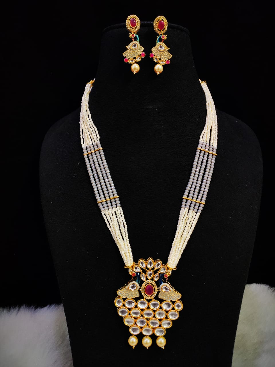 Traditional Kundan Meena Cut Onyx Long Necklace Set
