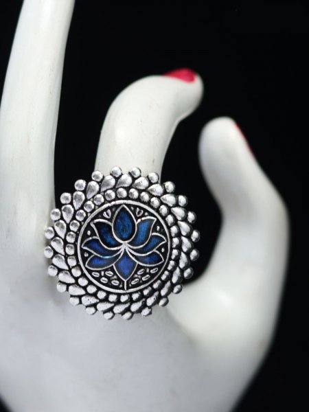 Crafted lotus meena adjustable ring