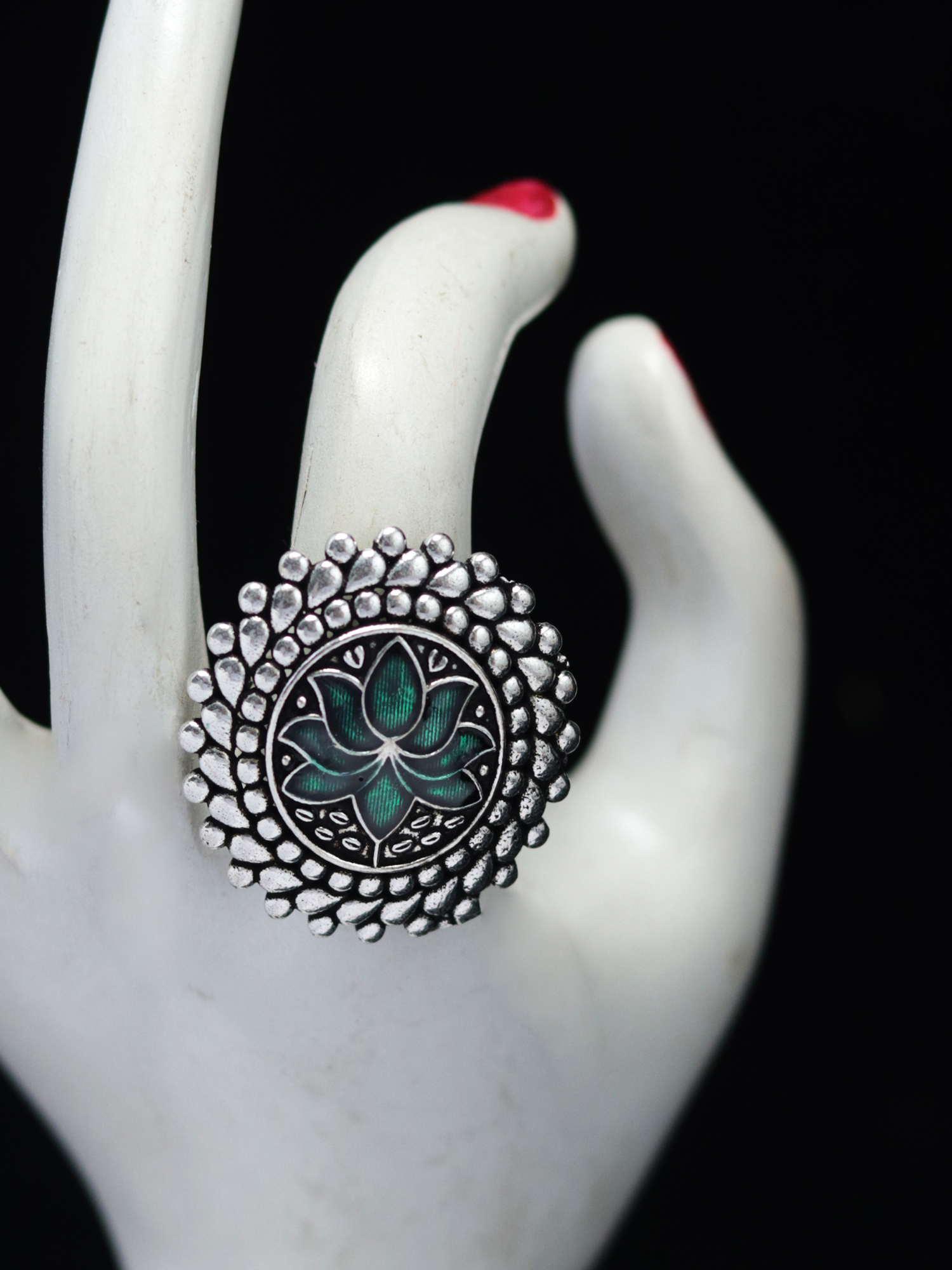Exclusive lotus meena adjustable ring