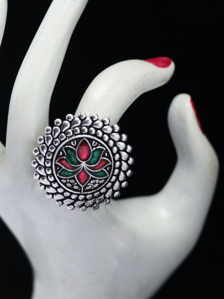 Partywear  lotus meena adjustable ring