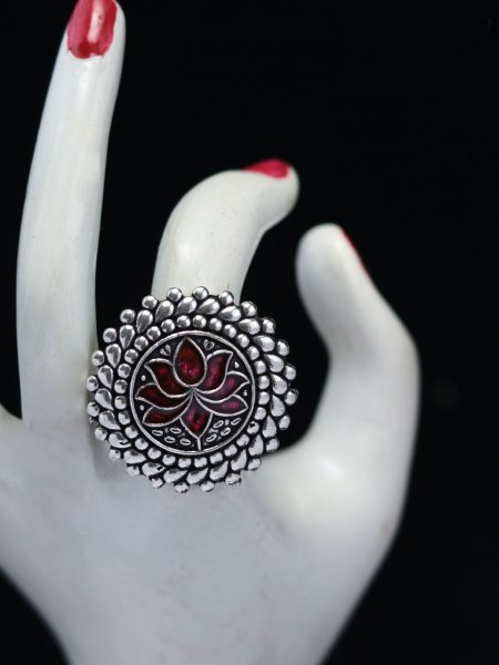 Trendy lotus meena adjustable ring