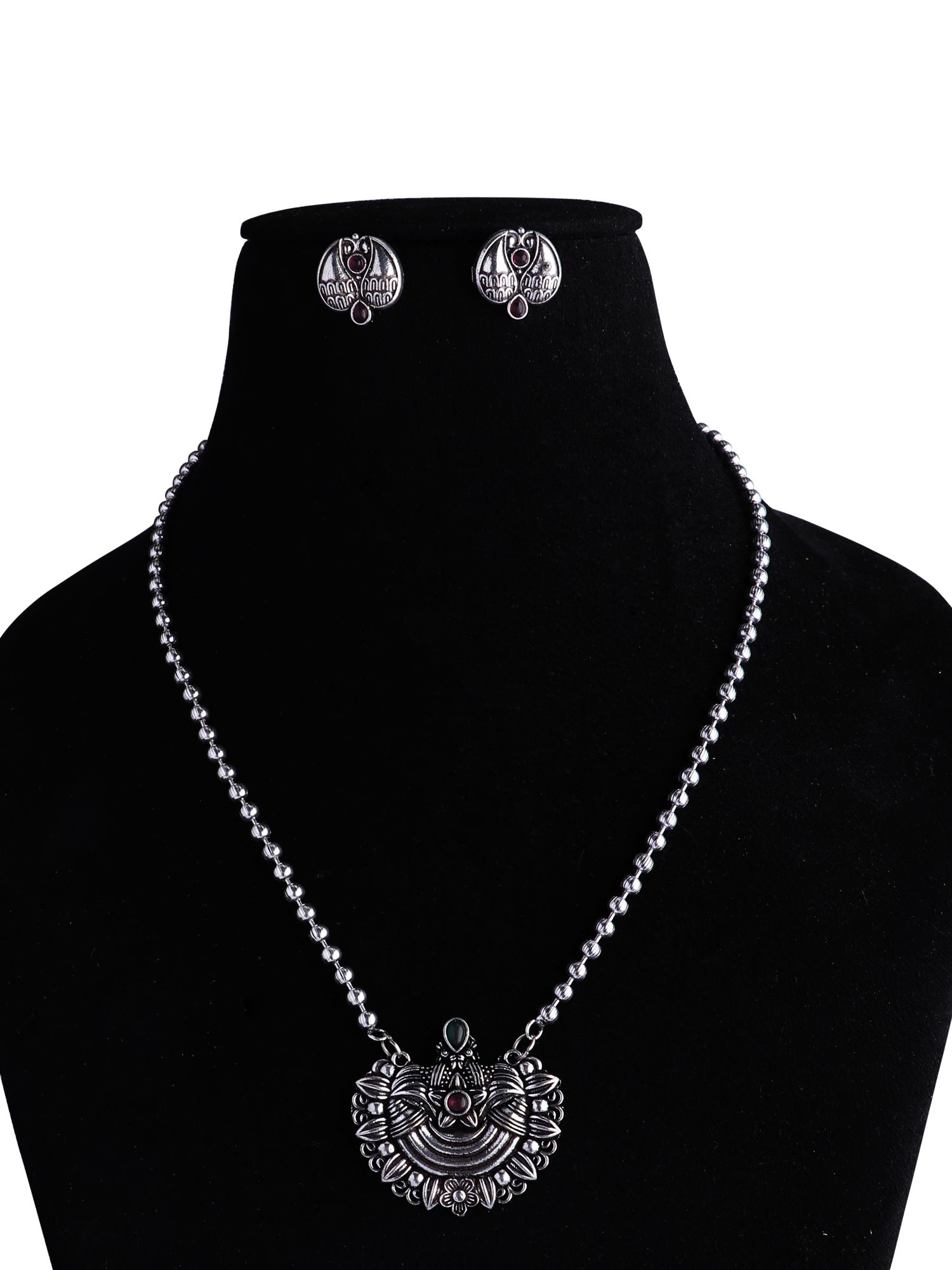 Oxidised Sliver Ball Chain Necklace Set