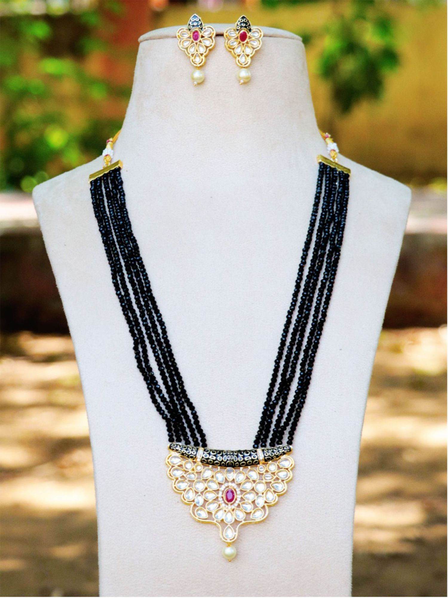 Extremely Kundan meena long Jaipuri necklace set