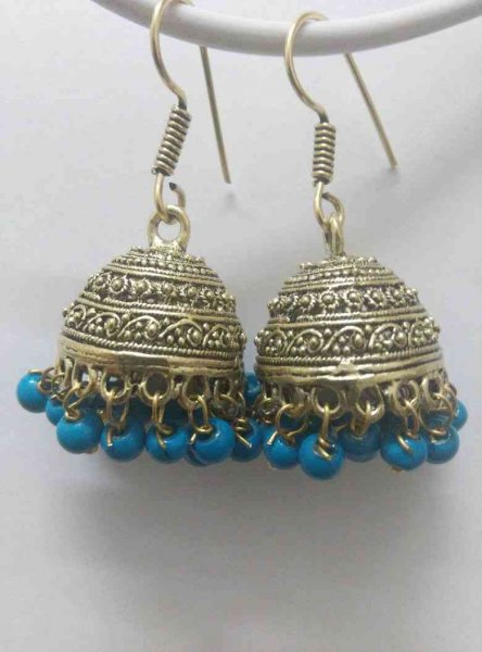 Ethnic Beads Golden Jhumki Earrings
