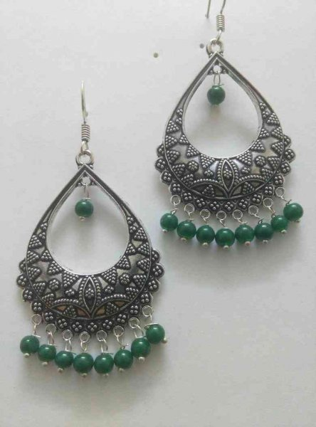 Partywear Beads Alloy Earrings