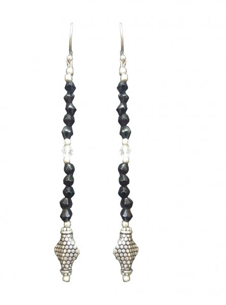 Designer Oxidised Latkan Beads Earrings
