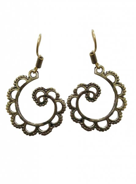 Ethnic Golden Spiral Earring