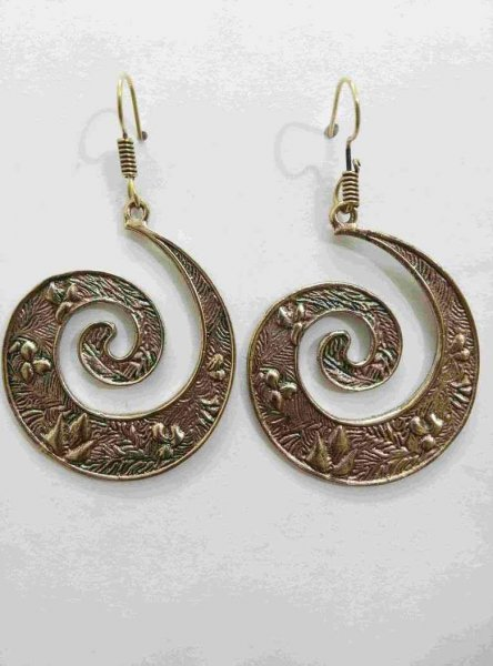Beautiful Golden Partywear Spiral Earrings