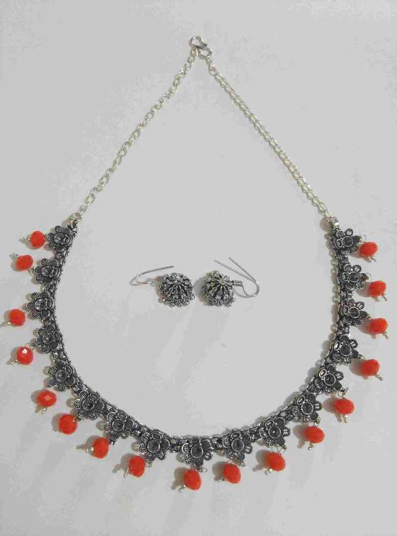 Oxidised Designer Cut Stone Necklace Set